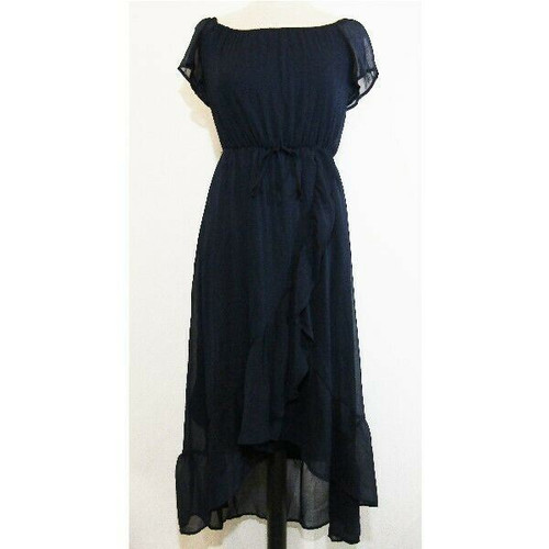 Modcloth Navy Blue Women's Maxi Dress w/ Ruffled Front Size XS NEW WITH TAGS
