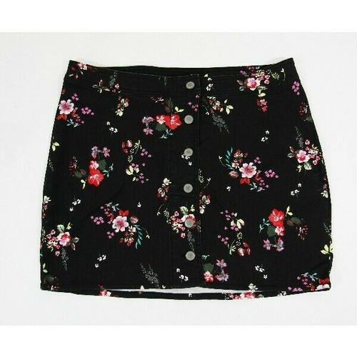 Material Girl Black Floral Women's Denim Mini Skirt NWT Size 15