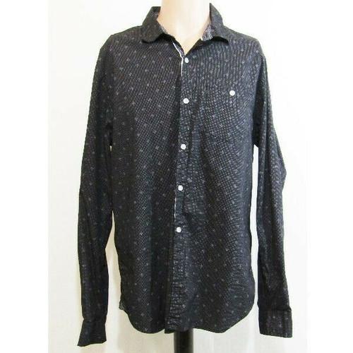 Paper Denim & Cloth Black Floral Slim Fit Men's Button Down Dress Shirt Size XL