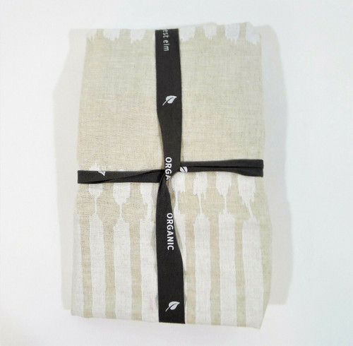 """West Elm Tan with White Linen Euro Pillow Sham Only 26"""" x 26"""" - **STAIN"""