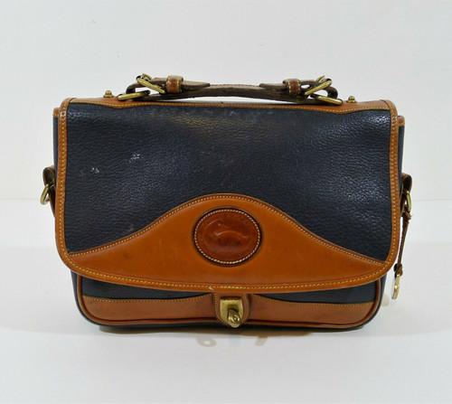 Vintage Dooney & Bourke Blue/Brown Pebbled Leather Handbag Purse - MISSING STRAP