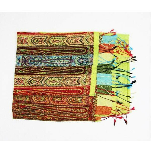"""Pashmina Multicolor Striped & Patterned Women's Scarf/Shawl 73"""" x 27"""""""