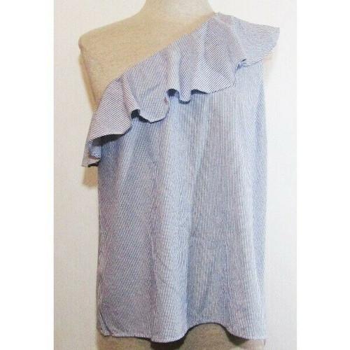 Ann Taylor Factory Blue & White Striped Women's Off Shoulder Blouse NWT Size M