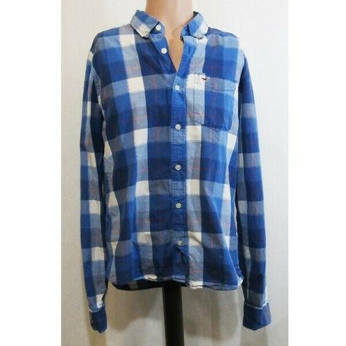 Hollister Blue Plaid Long Sleeve Women's Button Up Blouse Size L