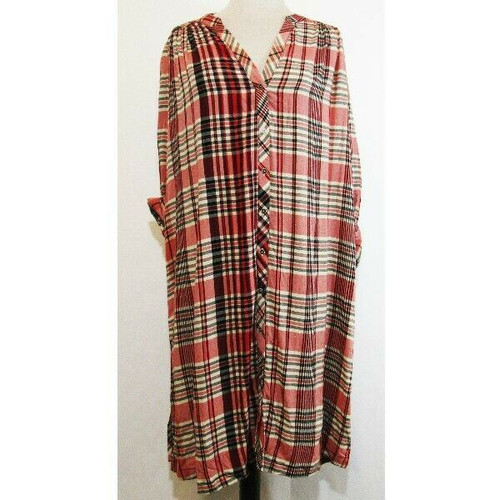 Free People Multicolor Plaid Women's Button Down Shirt Dress Size S NWT