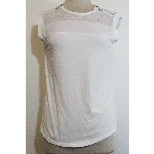Michael Kors White Sleeveless Women's Blouse w/ Perforated Shoulders Size S