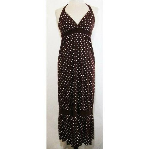 Rhinestone Cowgirls Brown & White Polka Dot Women's Maxi Dress NWT Size S