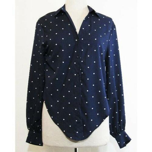 Dress Forum Navy Blue & White Polka Dot Women's Button Down Blouse NWT Size M