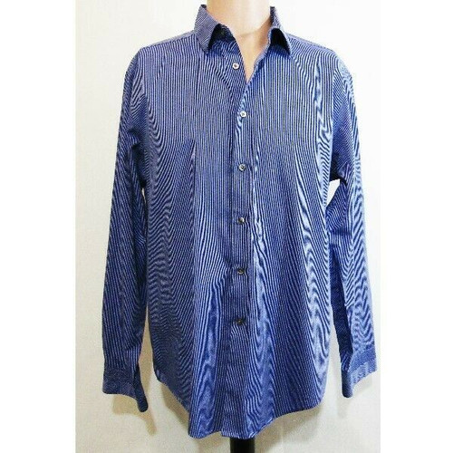 Calvin Klein Blue & White Striped Slim Fit Men's Button Down Dress Shirt Size 16