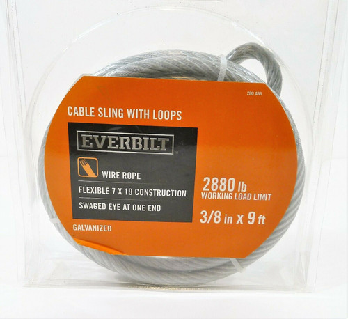 """Everbilt 3/8"""" x 9 ft. Galvanized Cable Sling with Loops - NEW IN PACKAGE"""