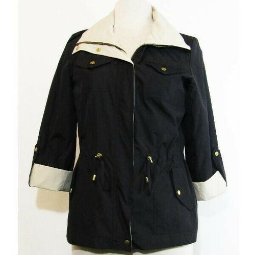 Jm Collection Petite Black & Tan 3/4 Sleeve Women's Lightweight Coat Size PS