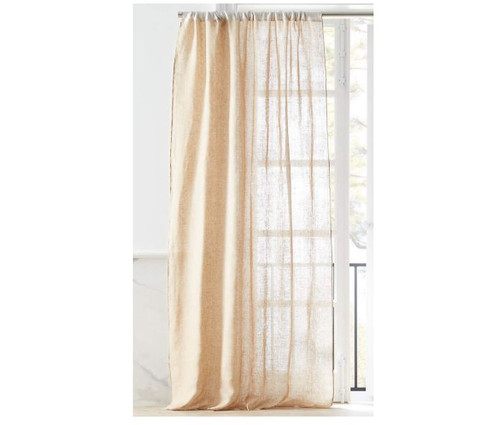 """CB2 Dos White and Natural Two-Tone Curtain Panel (1) 48"""" x 96"""""""