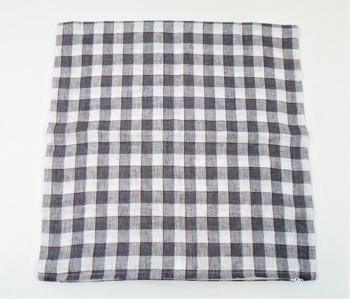 "CB2 18"" Mansfield Plaid Linen Pillow Sham Only 18"" W x 18"" H"