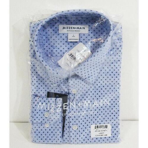 Mizzen + Main Blue & White Striped Leeward Floral Men's Dress Shirt NWT Size L