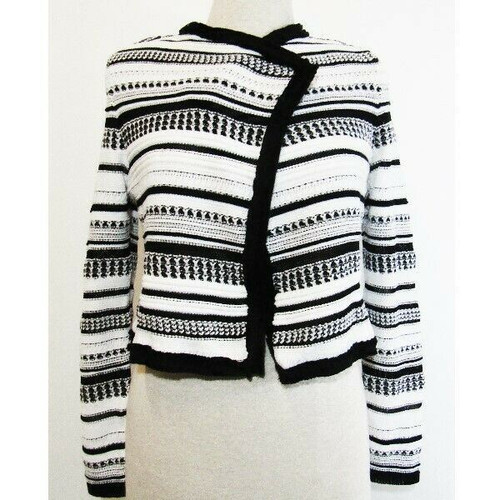 White House Black Market White & Black Striped Chenille Jacket NWT Size S