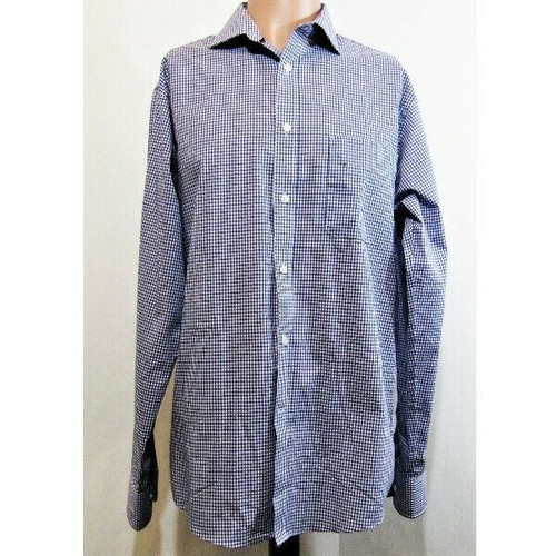 Tommy Hilfiger Men's Blue & White Checkered Regular Fit Dress Shirt Size M