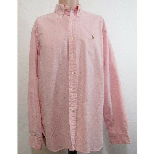 Ralph Lauren Men's Pink Classic Fit Button Down Dress Shirt Size L