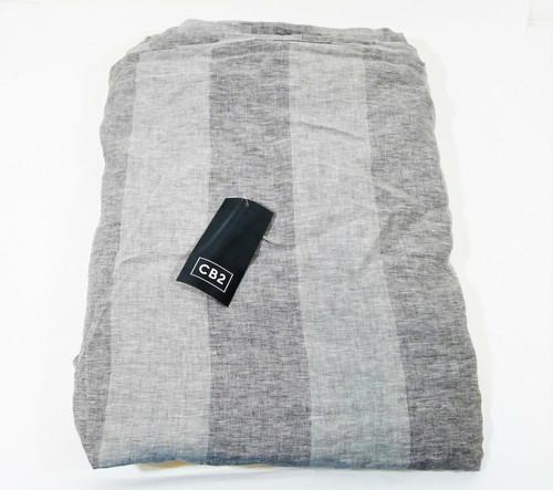"""CB2 Bold Stripe Linen Duvet Cover Only Full/Queen 92"""" W x 88"""" H"""