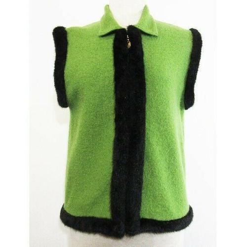 Lisa International Green & Black Women's 100% Wool Vest Size M