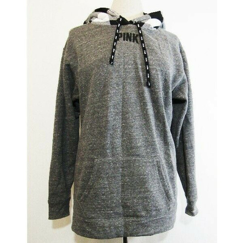PINK by Victoria's Secret Women's Pullover Gray w/ Plaid Hoodie Size M