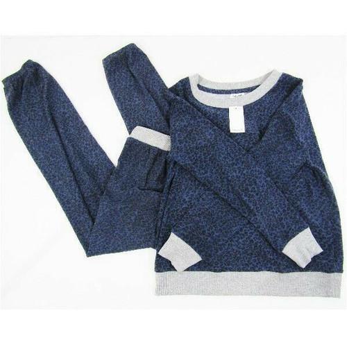 Splendid Blue & Gray Cheetah Print Women's 2 Piece Pajama Set NWT Size XS