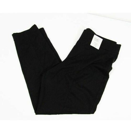 Croft & Barrow Women's Black Slim Straight Mid Rise Pants NWT Size L Short