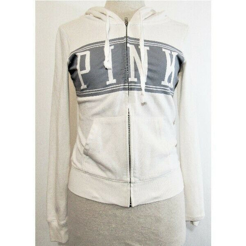 PINK by Victoria's Secret Gray & White Women's Full Zip Hoodie Size XS