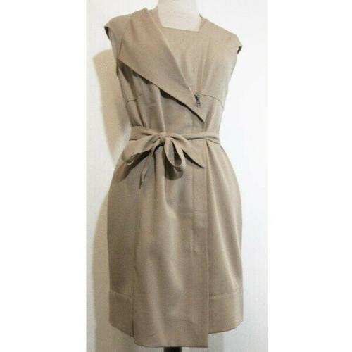 Hoss Intropia Beige Sleeveless Women's Quarter Zip Front Tie Dress Size 40