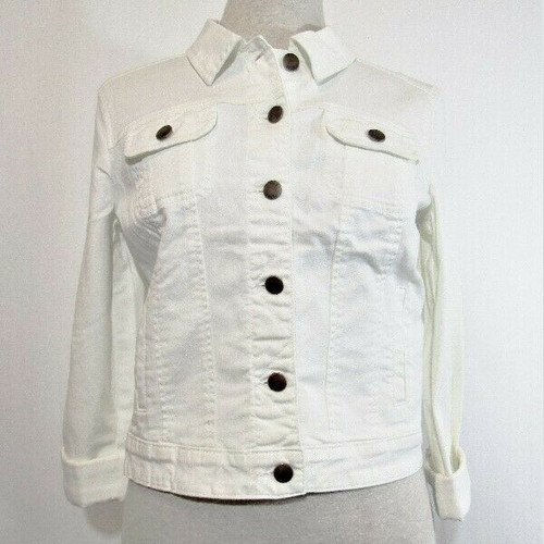 Elle Women's White Denim Jacket Size Medium **NEW WITH TAGS**