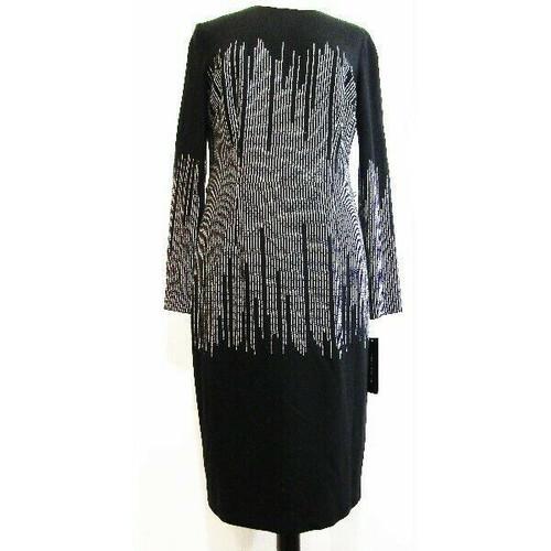 David Meister Women's Black Long Sleeve Dress w/ Silver Accents Size 12 *NWT*
