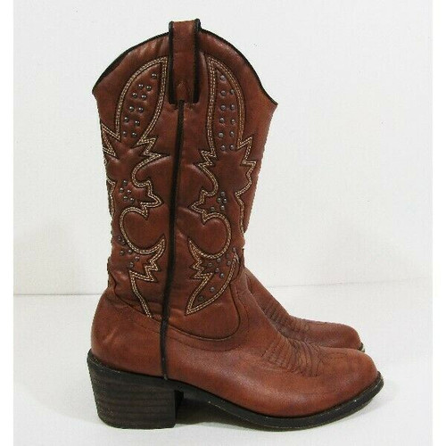 JustFab Women's Brown Studded Western Boots Size 8