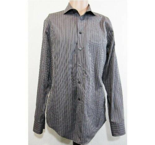 Calvin Klein Gray & White Striped Men's Button Up Dress Shirt Size 15.5 x 34/35