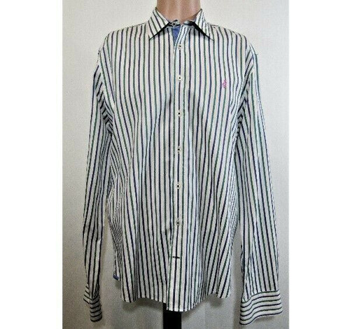 Thomas Pink Men's Multicolor Striped Button Down Dress Shirt Size Medium