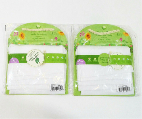 Set of 2 Green Sprouts 5-Pack Reusable Muslin Cloths Organic Cotton - NEW