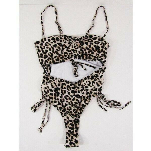 Ioiom Women's Leopard Print Strapless One Piece Swim Suit Size L *NEW IN PACKAGE