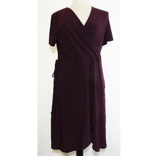 Star Vixen Women's Plum Side Tie V-Neck Dress Size Petite XL