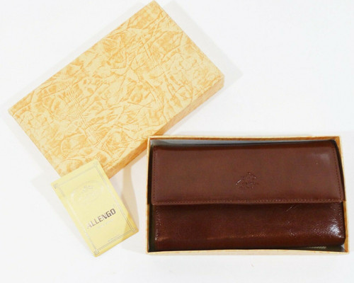 """Allengo Brown Leather Women's Wallet 7.25"""" W x 4"""" T x 1.5"""" D   New With Box"""