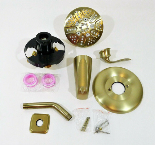 Trustmi Brushed Gold Tub & Shower Faucet Set Rough-in Valve w Trim Included