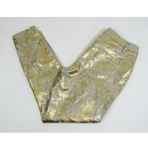 Boston Proper Women's Metallic Gold & White Skinny Jeans w/ Rhinestones size 31