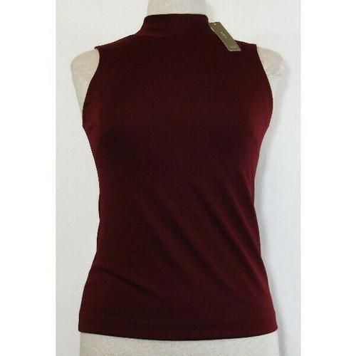 J. Crew Women's Burgundy Sleeveless Mockneck Blouse Size XXS **NEW w/ TAGS