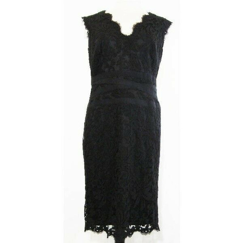 Tadashi Shoji Women's Black Embroidered Lace Dress Size 14