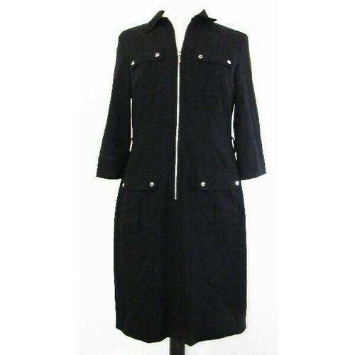 Michael Kors Women's Black Half Sleeve Zip Up Dress Size M