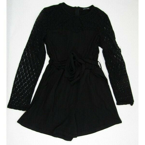 Shein Black Lace Long Sleeve Women's Romper Size Small **NEW IN PACKAGE**