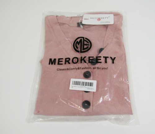 Merokeety Women's Pink Short Sleeve Blouse w/ Buttons Size XL *NEW IN PACKAGE*