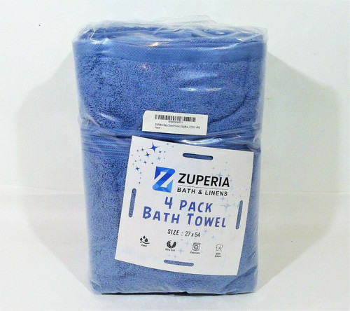 "Zuperia 4 Pack Sky Blue Bath Towels 27"" x 45"" - NEW"