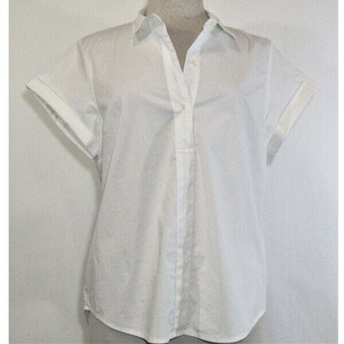 J. Crew Women's Classic White Short Sleeve Button Up Polo Blouse Size XL