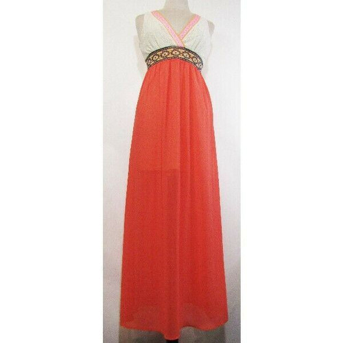 Flying Tomato Boho Coral Lace Women's Multicolor Maxi Dress Size M *Has Stain