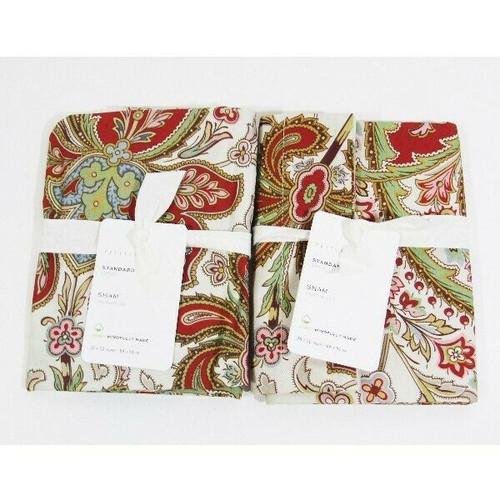 Pottery Barn Set of 2 Standard Multicolor Paisley Pillow Shams 26x20 NEW w/o TAG