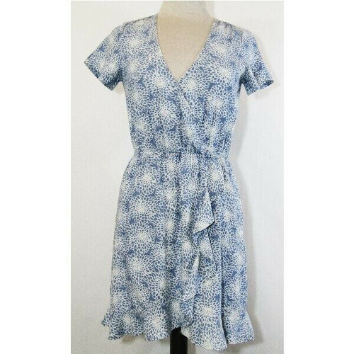 Mercantile by J. Crew Women's Blue Floral Short Sleeve Midi Dress Size XXS