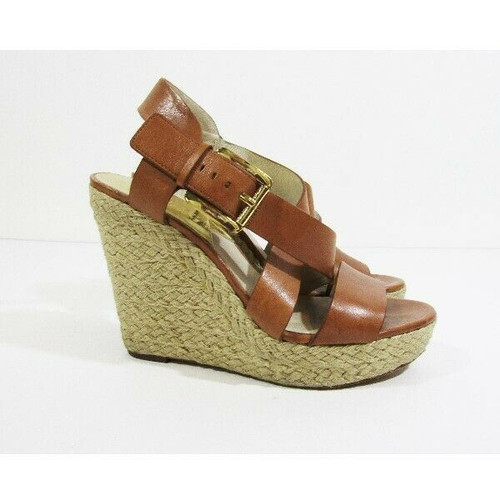 Michael Kors Women's Brown Leather Open Toe Wedges Size 6.5 *Has Light Fraying*